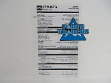 Yamaha Quick Reference Service Manual Data Sheet YFM45FG Grizzly 450 4WD 2008