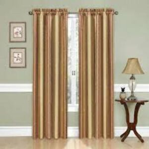 """TRADITIONS BY WAVERLY Curtain Panel NWT 52"""" x 84"""" Stripe Ensemble-Antique"""