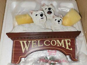RARE Danbury Mint Westie dog welcome sign With Christmas wreath resin hanger NIB