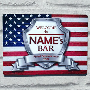 Personalised USA American Flag Sign Metal Sign A4 - A5 size Bar Add Name