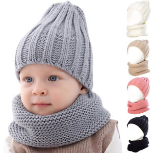 Men Women Kids Baby Beanie Hats Scarf Set Warm Balaclava Ski Caps Unisex Winter