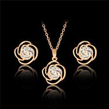 Women Gold Rose Flower Pendant Necklace Rhinestone Earrings Wedding Jewelry Set