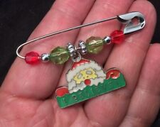 Bead Xmas Holiday Brooch Safety Pin With Santa Claus I Believe Dangle Charm