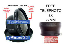 TOKINA 72mm 0.5X WIDE ANGLE LENS + TELE FOR SONY HDV HDR-FX1 FX1E FX7