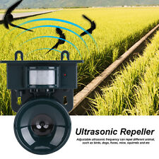 PIR Outdoor Solar Ultrasonic Pest Animal Bird Crow Repeller Repellent Scarer SR