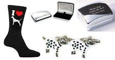 Dalmation Dog Cufflinks + Engraved  Case + Mens Dalmation Dog Socks (N125-XDCB)