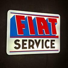 FIAT SERVICE 1950's ILLUMINATED LED LIGHT BOX WALL SIGN VINTAGE GARAGE ABARTH