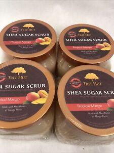 4X Tree Hut Shea Sugar Scrub Tropical Mango Hydrating and Exfoliating 18 oz.