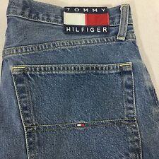 Vintage Tommy Hilfiger Jeans Shorts Size 34  Spell Out Flag 90s Hip Hop Grunge