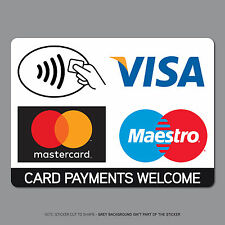 Contactless Card Payments Sticker Credit Card Taxi Shop VISA Mastercard SKU2541