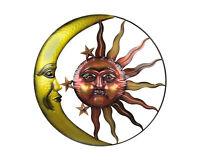 32 Inch Diameter Orange and Gold Metal Art Celestial Sun and Moon Indoor