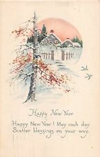 Art Deco 1921 New Year PC-Bluebirds Flying Near Snowy Home Scene-Gibson Art Co.