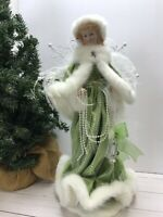 "Christmas Victorian Girl Angel 16"" tall Figurine Green Dress Faux Fur Pearls"