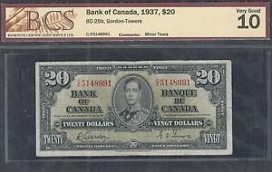 1937 $20.00 BC-25b BCS VG-10 ** Bank of Canada King George VI OLD Twenty Dollars
