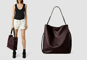 AllSaints Paradise North/South Tote Berry-Plum Calfskin Leather Handbag & Case