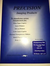 Lot of 10 Clear Copier Transparency Film Sheets -Paper Backed - Precision 10-115
