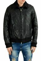 Just Cavalli Men's Wool Full Zip Coated Black Jacket US S IT 48