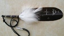 "Native American Eagle Feather Hair Tie ""Holy Man"" Regalia Pow Wow Cherokee Plume"