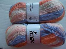 Ice Yarns Angora Print yarn, pink/lavender/orange/crea m lot of 2, (582 yds ea)