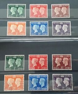 Great Britain Stamps. George VI 1940 First Stamp Centenary.  Mint and Used sets.