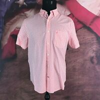 Nautica Classic Fit Pink White Checks Short Sleeve Button Shirt Front Medium