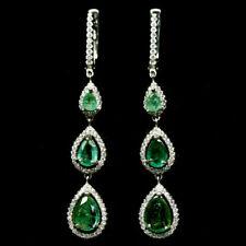 TOP EMERALD EARRINGS : Natürliche Grün Smaragd Ohrringe Sterlingsilber E372