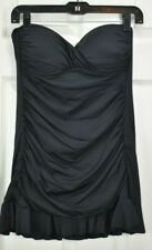 NWT A.N.A. Sz 10 Black Ruched flared skirt remov. halter strap 1-Pc Swimsuit $86
