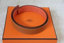 100% Authentic Hermes Cannelle/Orange Togo&Calf Leather Belt 32 MM - size 75
