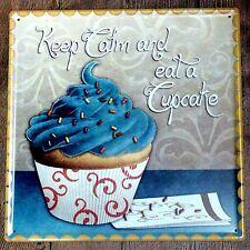 Metal Tin Sign keep calm and eat cupcake Bar Pub Vintage Retro Poster Cafe ART