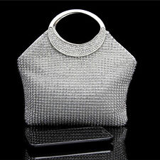 New silver handmade luxury Crystal diamond Bridal Evening wedding handBag