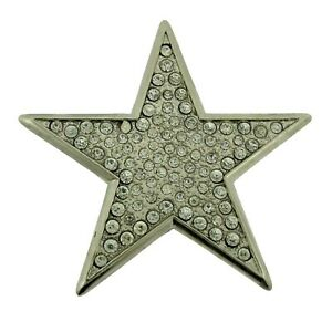 New Men Big Silver Star Belt Buckle Blinged Out Hip Rock Punk Goth Tattoo Style