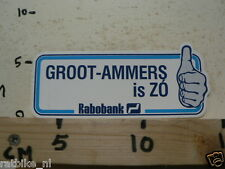STICKER,DECAL RABOBANK GROOT-AMMERS  IS ZO