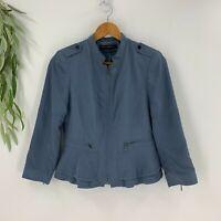 White House Black Market Womens Moto Jacket Size 4 Blue Peplum Waist Lined Zip