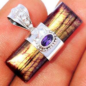 Red Flash Labradorite & Amethyst 925 Silver Pendant Jewelry BP85164 290K