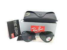 Ray Ban Aviator RB3025 002/58 Black Solid Polarized Green Lens 58mm