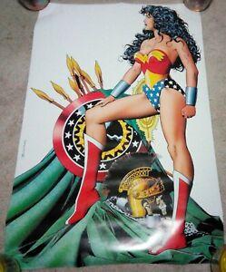 "Vintage 1993 Wonder Woman Poster 34.5"" x 22.5"" DC Comics Brian Bolland"