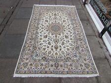Vintage Hand Made Traditional Oriental Wool White Beige Rug Carpet 222x136cm