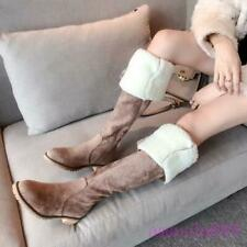 Sweet Women Flat Heels Over the Knee Warm Snow Boots Winter Faux Fur Lined Shoes