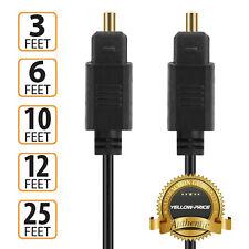3ft 6ft 10ft 12ft 25ft 24K Gold Plated Toslink Digital Optical Audio Cable -Us