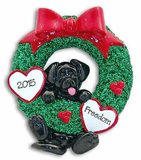 Black Lab Puppy Dog in WREATH  RESIN  Personalized Christmas Ornament