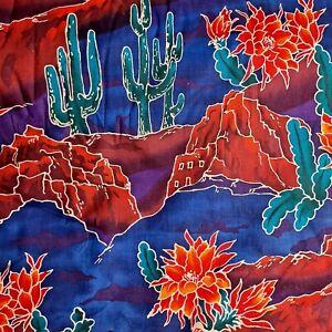 "Vintage Hoffman California Fabric SW Adobe Cactus Tegaki Scenics 36"" x 44"""