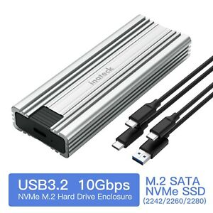 Inateck M.2 NVMe Enclosure 10 Gbps USB 3.2 Gen 2 M.2 SATA and NVMe SSD Supported