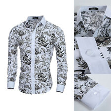 Stylish Mens Luxury Casual Long Sleeve Dress Shirts Slim Fit Shirts Floral Tops