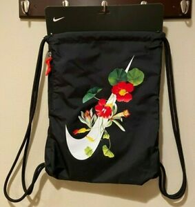 NWT RARE NIKE Heritage Floral Swoosh Black Drawstring Gymsack Backpack Bag