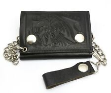 Trifold Black Genuine Leather Biker Chain Wallet Embossed Mexico Flag Eagle
