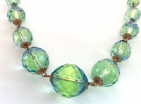 Vintage Gold Chain Green Blue Faceted Crystal Glass Bead Necklace GIFT BOXED