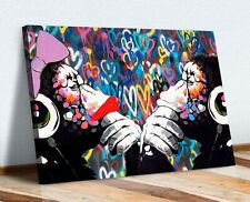 MONKEY DJ BANKSY STYLE LOVE WALL CANVAS STREET WALL ART PRINT - DOUBLE GORILLA