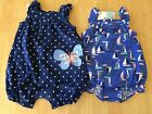 NWT Carter's Baby Girl Romper Nautical sailboat or butterfly 3 6 9 12 18 months