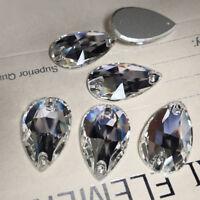 #3230 All Sizes Clear Teardrop Flatback Sew On Glitter Strass Crystal Rhinestone