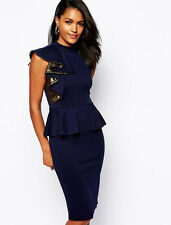 New elegant navy peplum midi dress club party wear size L UK 12